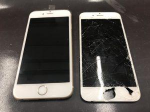 iphone6sの落下による、画面割れ